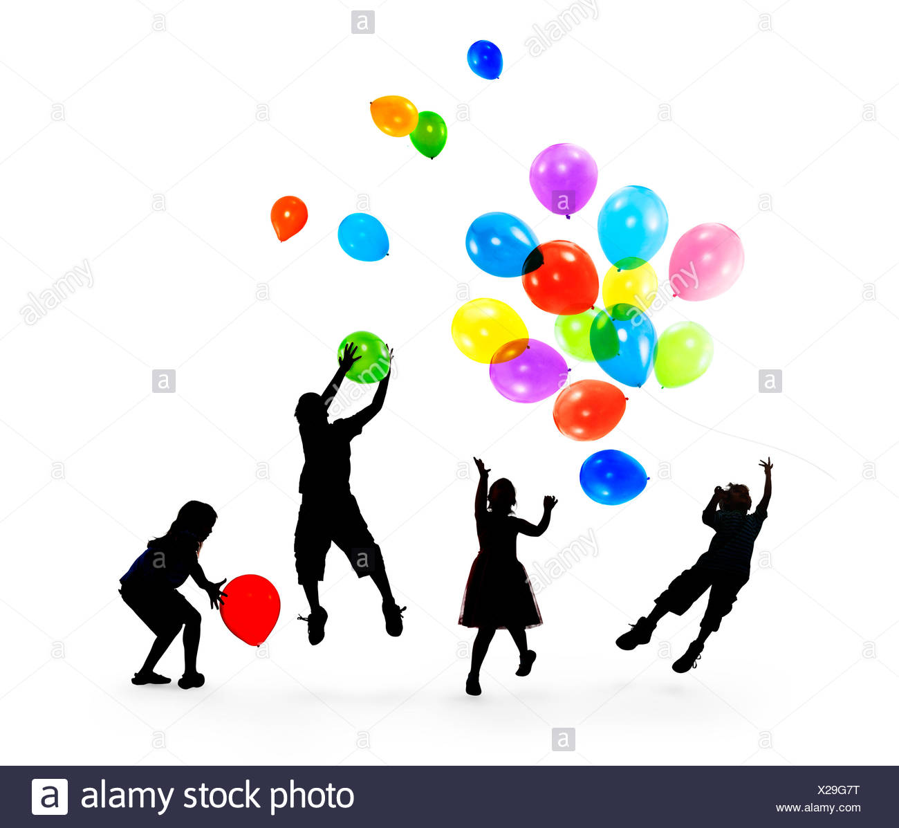 1300x1197 Happy Silhouettes Of Children Playing Balloons Together Stock