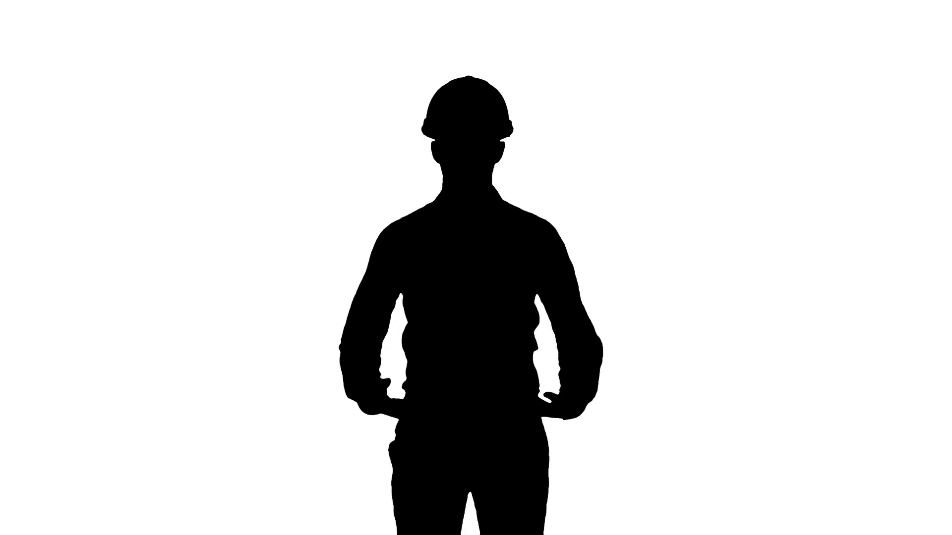 1920x1080 Silhouette Happy Young Engineer In Helmet Talking To The Camera