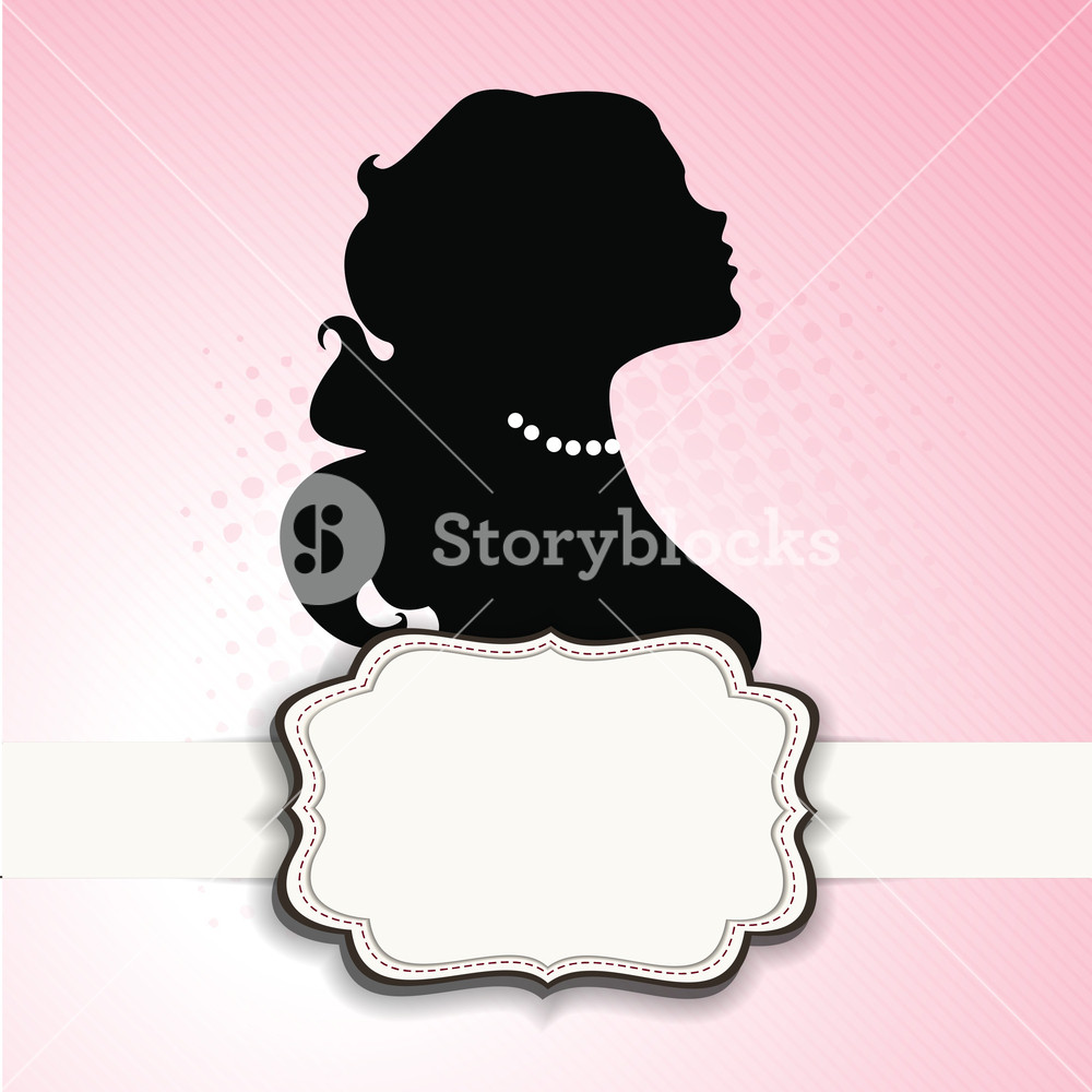 1000x1000 Silhouette Of Girl With Space For Your Message On Pink Background