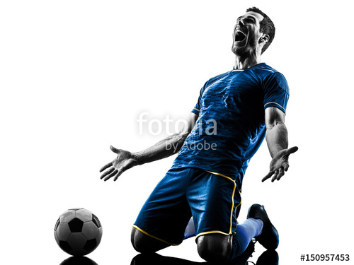 500x375 One Caucasian Soccer Player Man Happy Celebration In Silhouette