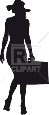 173x400 Silhouette Of Traveller Woman In A Short Dress And Hat