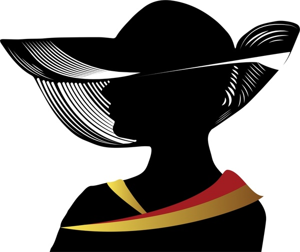 600x505 Woman Wearing Hat Vector Illustration With Silhouette Style Free