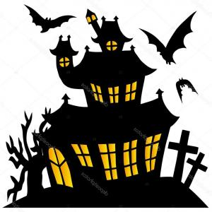 300x300 Stock Illustration Silhouette Spooky House Createmepink