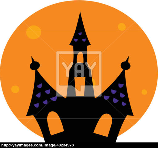 512x479 Halloween Haunted House With Moon Behind Vector