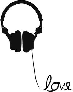 239x300 Headphone Love Wire Wall Art Decal Headphones, Silhouettes