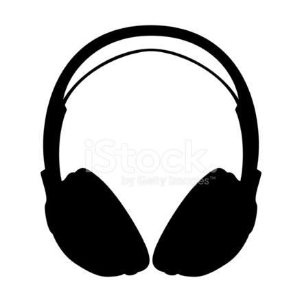 440x440 Headphone Silhouette Stock Vector
