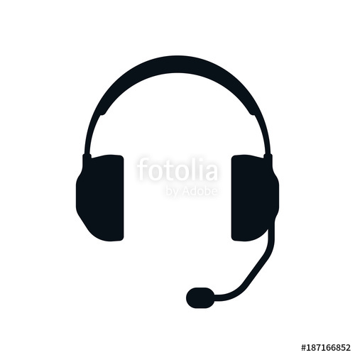 500x500 Headphones With Microphone Silhouette Stock Image And Royalty