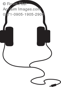 211x300 Clip Art Illustration Of Headphones In A Silhouette