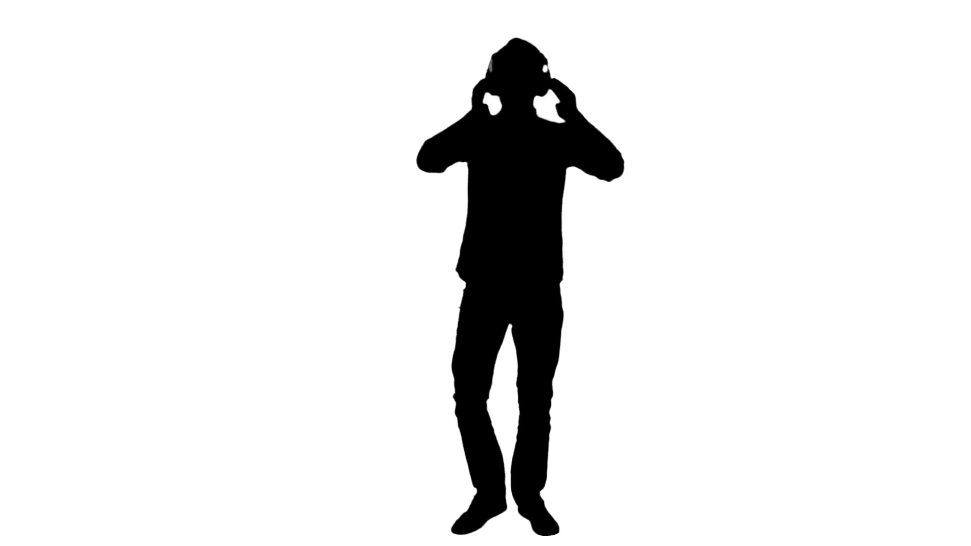 1920x1080 Dancer Silhouette With Headphones