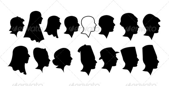 590x300 Ladies And Gentlement Silhouette Heads By Gezzeg Graphicriver