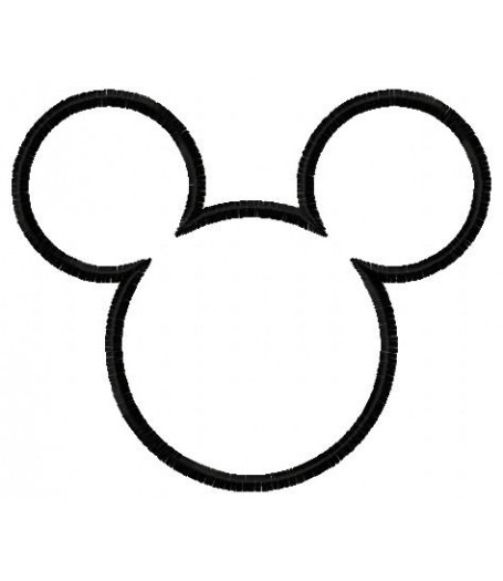 455x525 Mouse Head Silhouette Applique Design