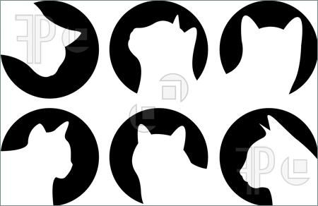 450x292 Cat Silhouette Clip Art Illustration Of Heads Of Cats, Logo Cats