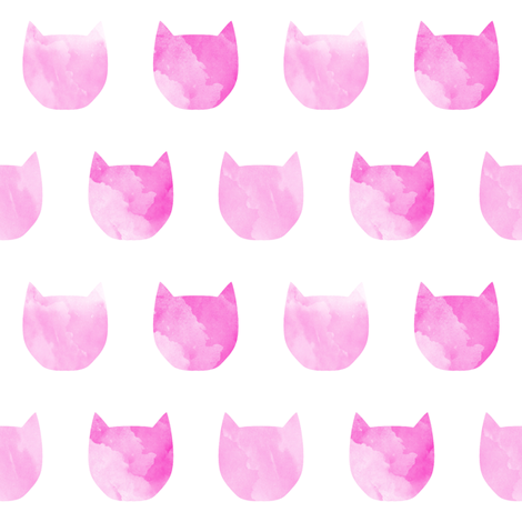 470x470 Watercolor Cat Head Pink Girls Nursery Sweet Cat Silhouette Pet