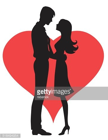 364x474 Couple Silhouette Of Man And Womans Heads Forming A Stock Vectors