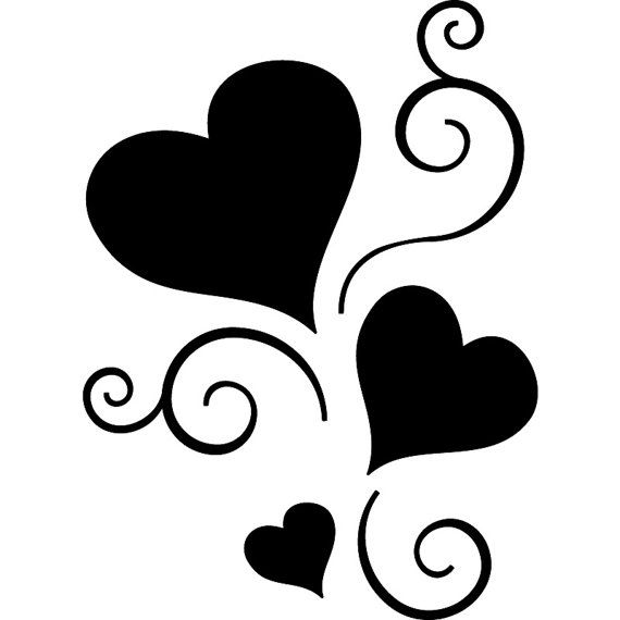 570x570 Scroll Hearts Sticker Tattoo Vinyl Decal By Seeyou276 On Etsy