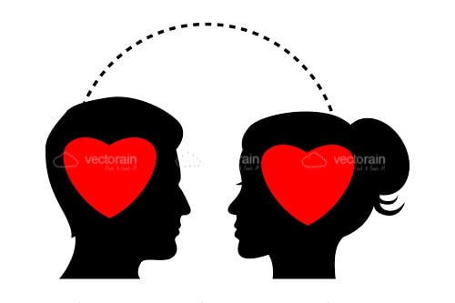 500x333 Silhouette Of Man And Woman Profiles With Hearts Inside