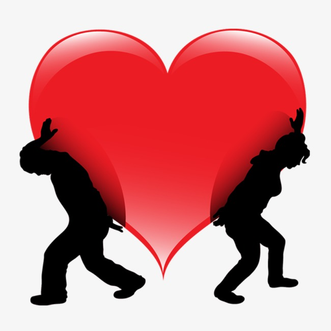 650x650 Two People To Lift Hearts, Silhouette, Hearts, Love Png Image