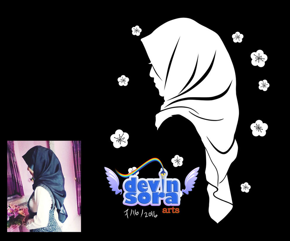 979x816 White Silhouette Of Hijab Girl With Sakura By Devinsora