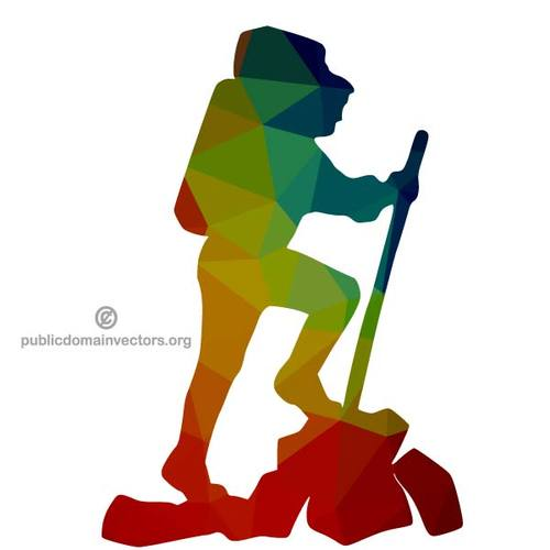 500x500 Hiker Color Silhouette Public Domain Vectors