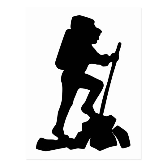 540x540 Silhouette Of A Hiker Hiking Up A Mountain Postcard