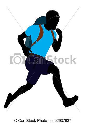 331x470 African American Hiker Silhouette. African American Hiker Stock