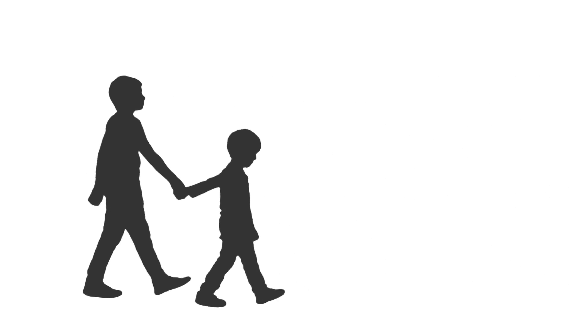 1920x1080 Silhouette Of Two Little Boys Walking Holding Hands. Side View