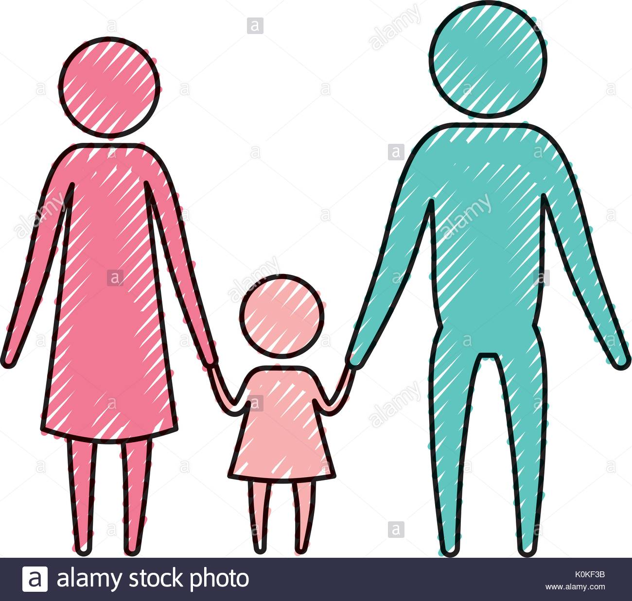 1300x1237 Color Crayon Silhouette Pictogram Parents With A Little Girl