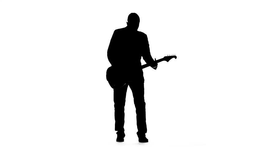 852x480 Musician Plays A Tranquil Melody On The Guitar. Silhouette. Studio