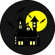 236x236 Haunted House Halloween Silhouette Die Cut For Scrap Booking