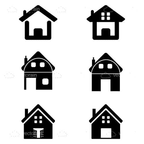 500x500 Silhouette House Icon Pack
