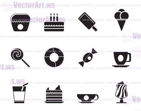456x358 Silhouette Sweet Food And Confectionery Icons