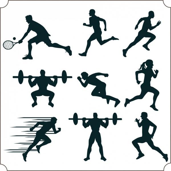 600x600 Athlete Icons Various Sports Design Elements Silhouette Decor Free