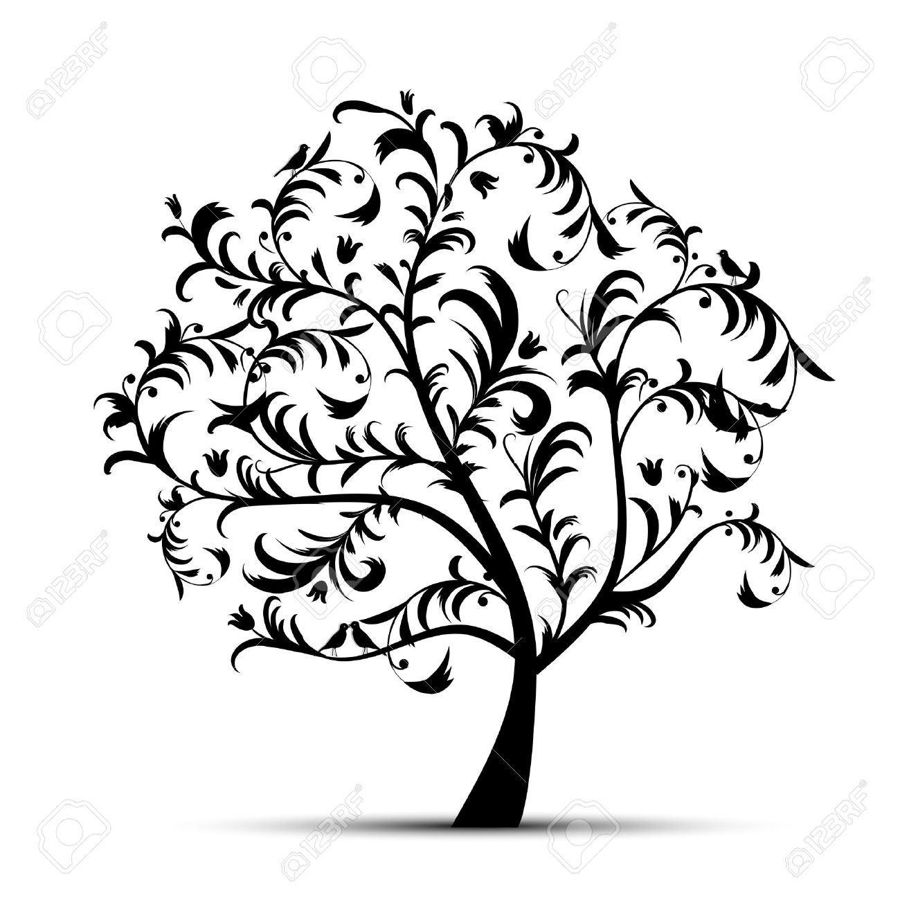 1300x1300 Illustration Clipart Tree Bird Silhouette