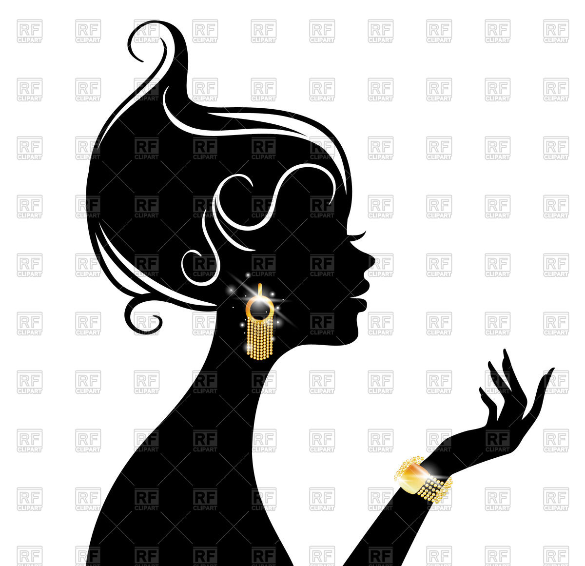 1200x1161 Profile Silhouette Of Elegant Woman With Sparkling Jewellery