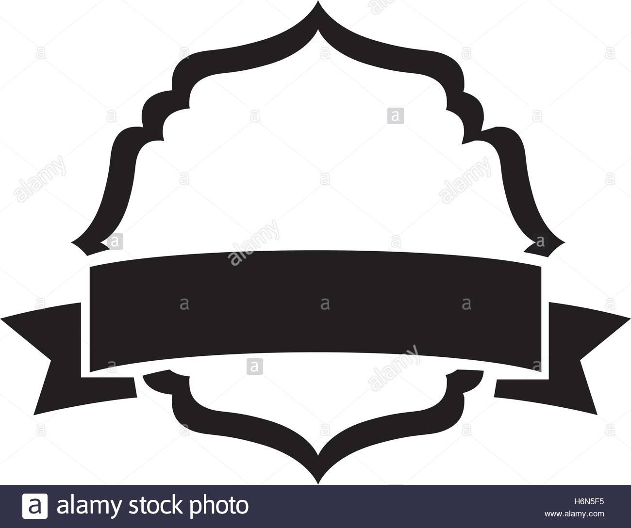 1300x1089 Black Silhouette Heraldic Decorative Frame With Label Vector Stock