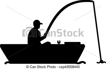 450x293 Fishing Silhouette Man In Boat Eps Vector