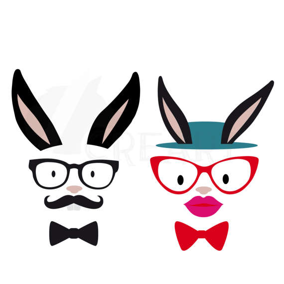 570x570 Hipster Easter Bunnies Hipster Bunny Silhouette Pack. Eps