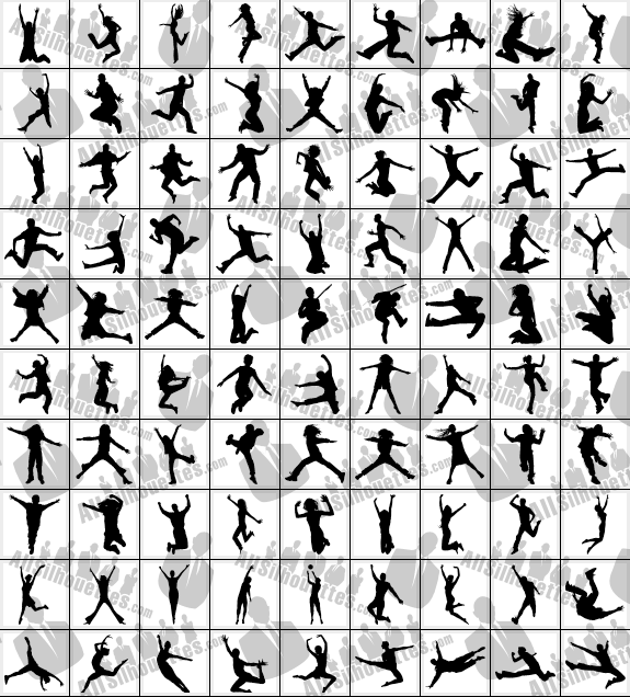 575x636 Jumping People All Silhouettes