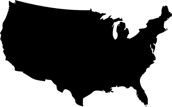 600x373 Us Map Silhouette Vector Free Vector In Adobe Illustrator Ai ( Ai
