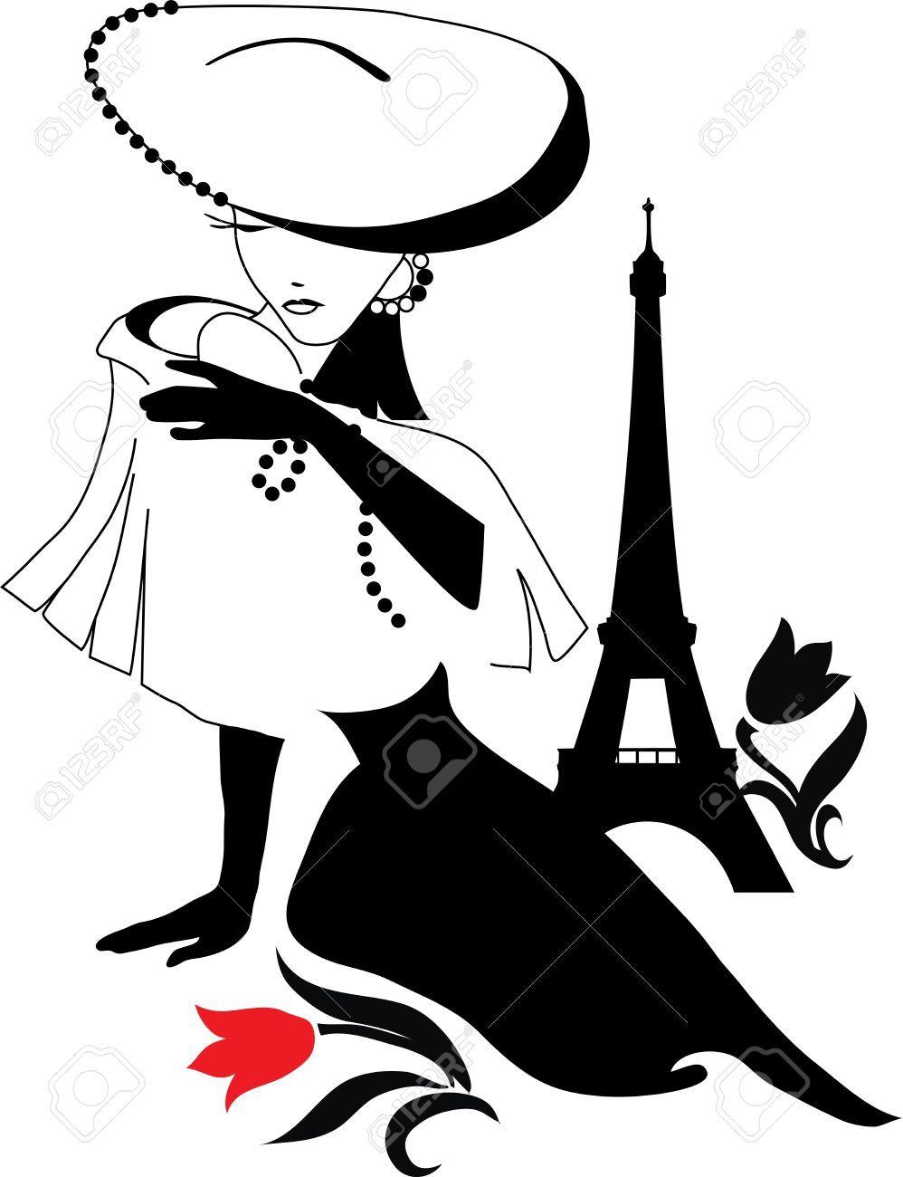 998x1300 Bella Silhouette Donna Vintage Con Un Grande Cappello Clipart