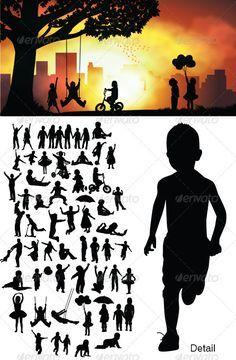 236x360 Children Silhouettes Adobe Illustrator, Silhouette And Adobe