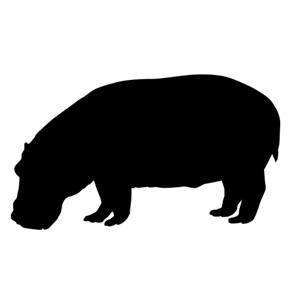 300x300 Hippopotamus Silhouette Wall Decals (Safari Animal Decor