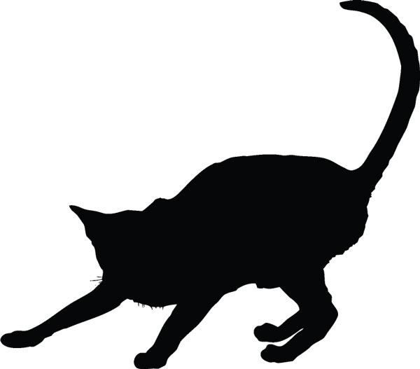 600x527 Vector Cats Silhouette Shapes