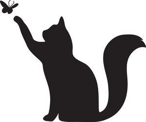 300x252 Cat Clipart Image Silhouette Of A Cat Pawing At A Butterfly