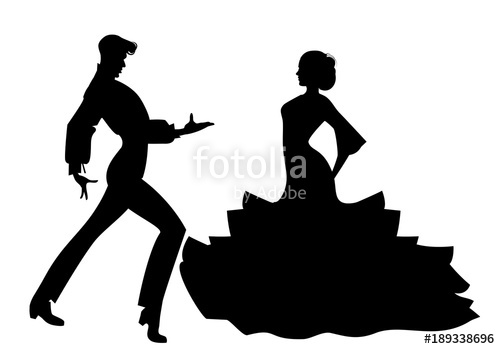 500x349 Silhouette Of Couple Of Typical Spanish Flamenco Dancers. Stock