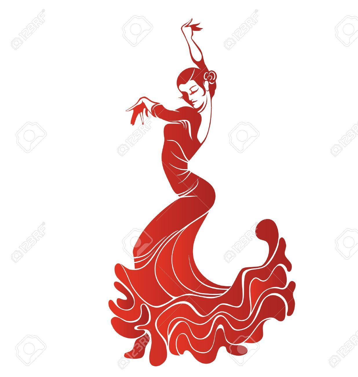 1235x1300 Stilized Silhouette Of Spanish Flamenco Dancer Women Royalty Free