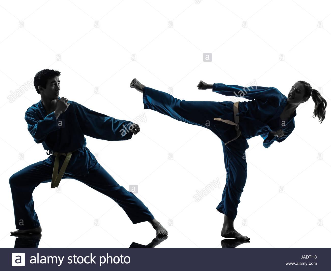 1300x1063 One Man Woman Couple Exercising Karate Vietvodao Martial Arts
