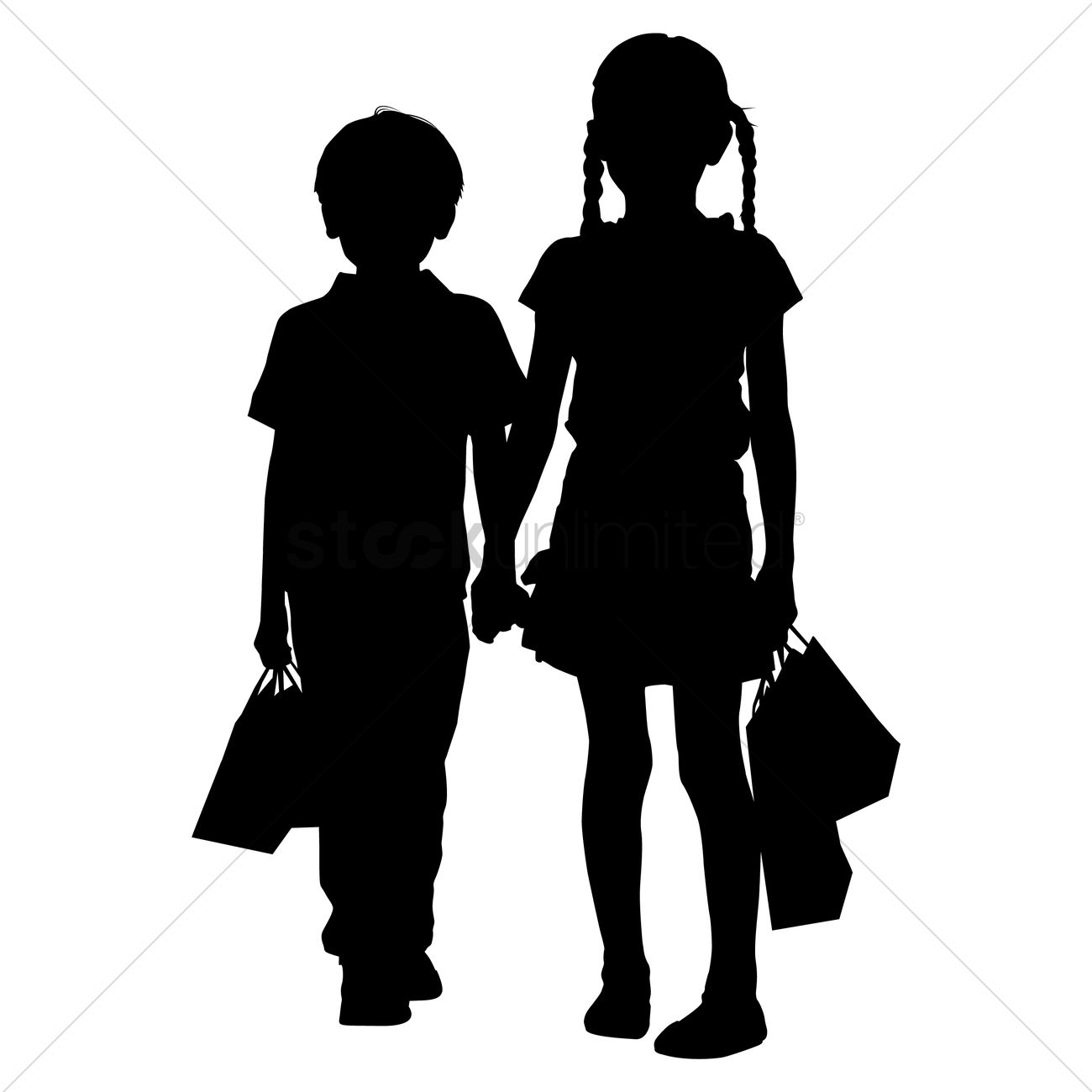 1300x1300 Silhouette Of Kids Shopping Vector Image