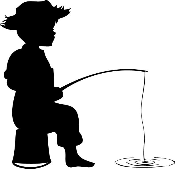 612x590 Kids Fishing From Boat Silhouette Clipart Collection
