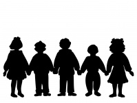 199x150 Silhouette Kids Holding Hands Free Stock Photo